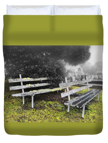 Duvet Cover featuring the photograph Please Take A Seat 001 by Kevin Chippindall