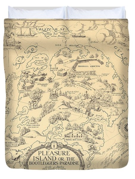 Pleasure Island Or The Bootleggers Paradise - Map Of Alcoholic Drinks - Brewers Map, 1925 Duvet Cover
