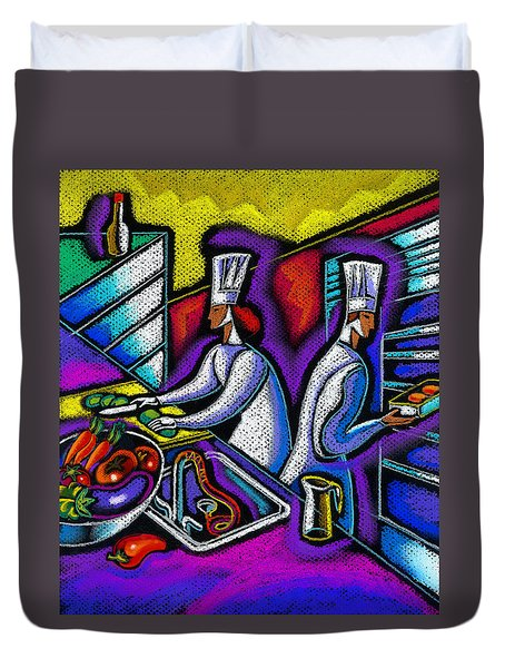 Duvet Cover featuring the painting  Pleasure Of The Food Preparation by Leon Zernitsky