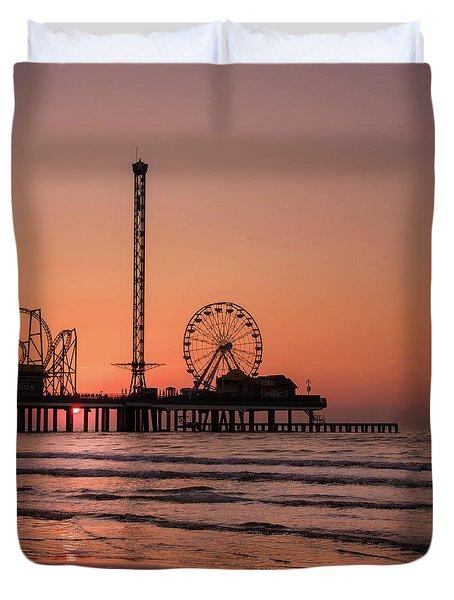 Pleasure Pier At Sunrise Duvet Cover