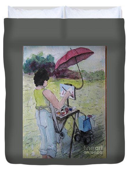 Plein-air Artist Sandra Duvet Cover by Gretchen Allen