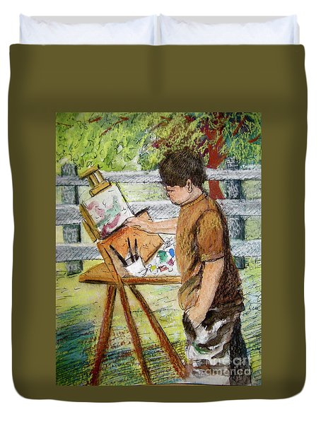 Plein-air Painter Boy Duvet Cover