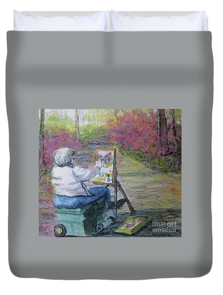 Plein-air Painter Lady Duvet Cover