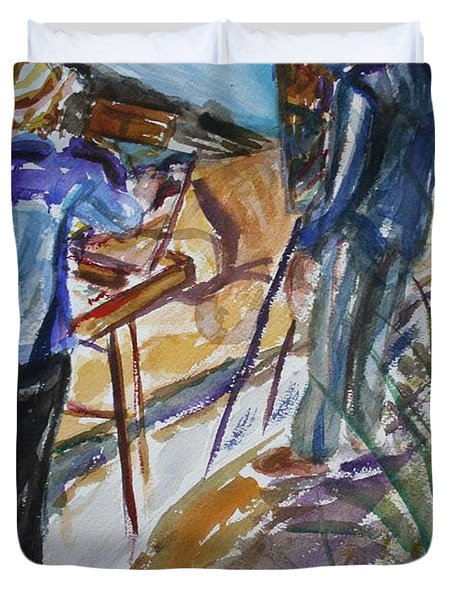 Plein Air Painters - Original Watercolor Duvet Cover