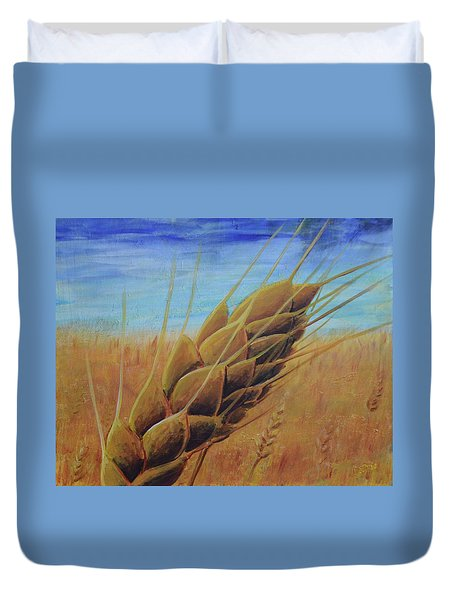 Duvet Cover featuring the painting Plentiful Harvest by Lisa DuBois