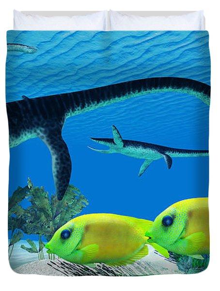 Plesiosaurus Coral Reef Duvet Cover