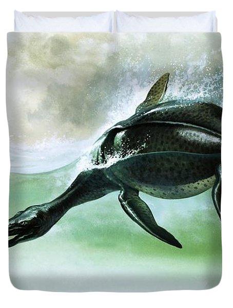 Plesiosaurus Duvet Cover by William Francis Phillipps