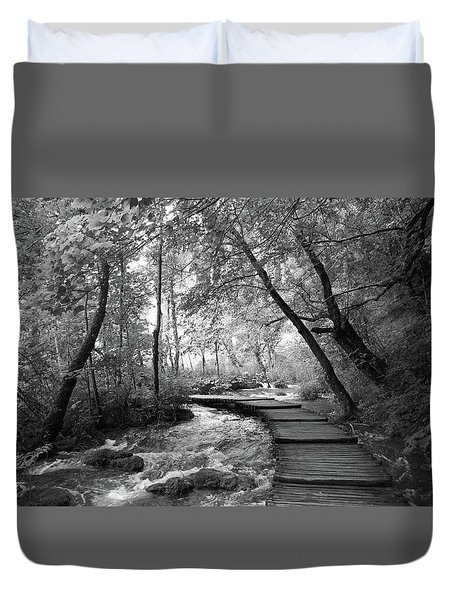 Plitvice In Black And White Duvet Cover
