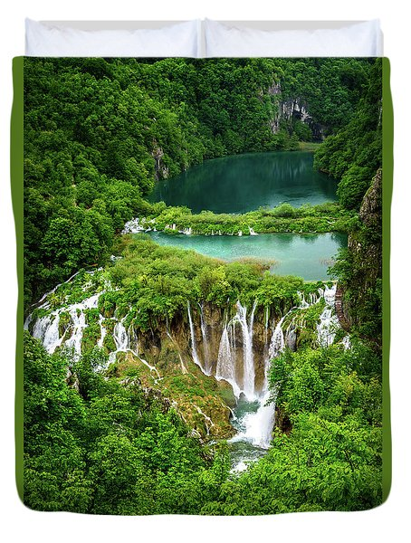 Plitvice Lakes National Park - A Heavenly Crystal Clear Waterfall Vista, Croatia Duvet Cover