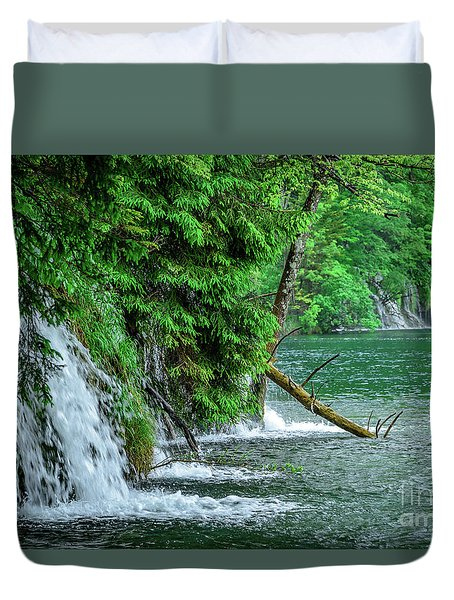 Plitvice Lakes National Park, Croatia - The Intersection Of Upper And Lower Lakes Duvet Cover