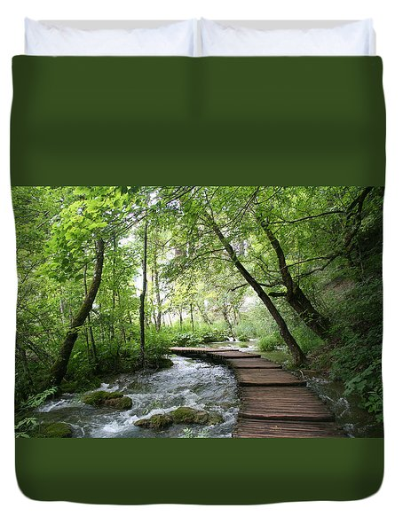 Duvet Cover featuring the photograph Plitvice Lakes National Park by Travel Pics