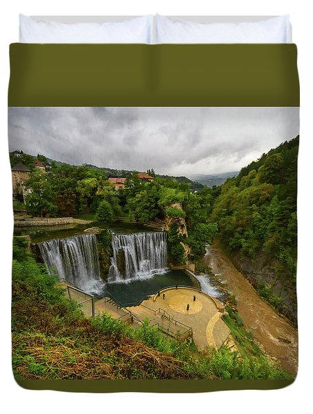 Pliva Waterfall, Jajce, Bosnia And Herzegovina Duvet Cover