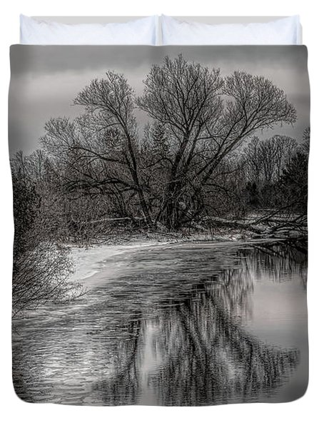 Plover River Black And White Winter Reflections Duvet Cover