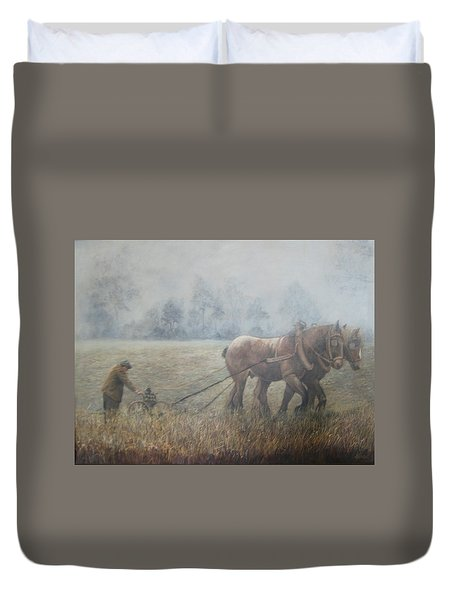 Plowing It The Old Way Duvet Cover by Donna Tucker
