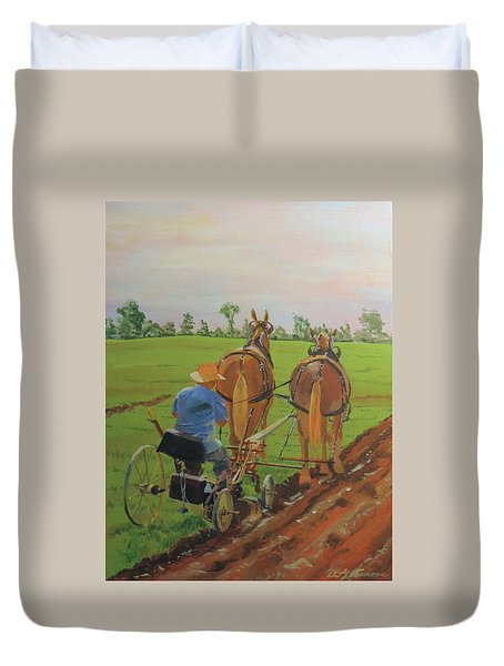 Plowing Match Duvet Cover