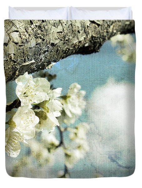 Plum Blossoms And Puffy Clouds Duvet Cover