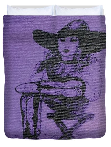 Plum Cowgirl Duvet Cover by Susan Gahr