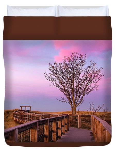 Plum Island Boardwalk With Tree Duvet Cover