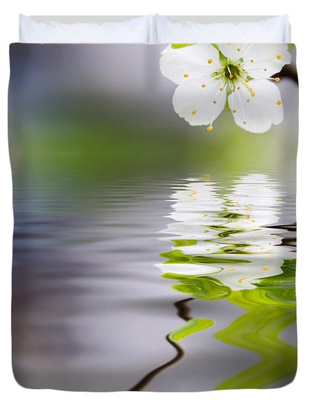 Plum Tree Blooming Duvet Cover
