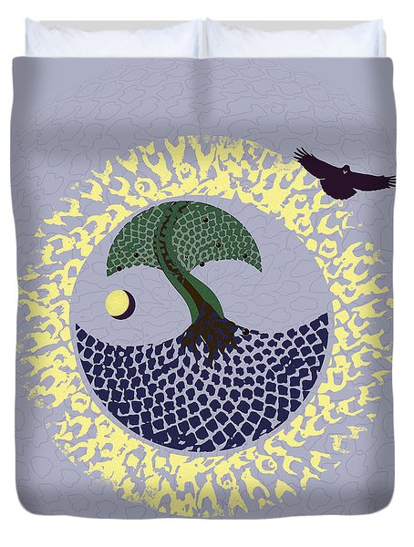 Duvet Cover featuring the digital art Plum Tree by Deborah Smith