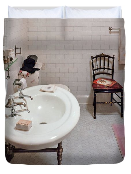 Plumber - The Bathroom  Duvet Cover by Mike Savad