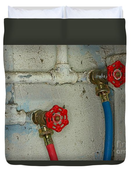 Plumbing Hot And Cold Water Duvet Cover by Paul Ward