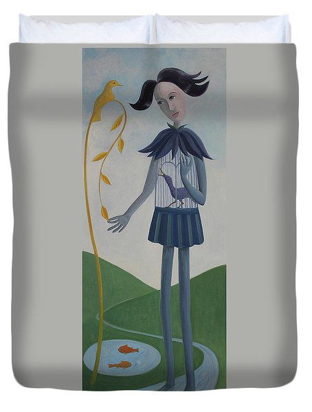 Duvet Cover featuring the painting Plume by Tone Aanderaa