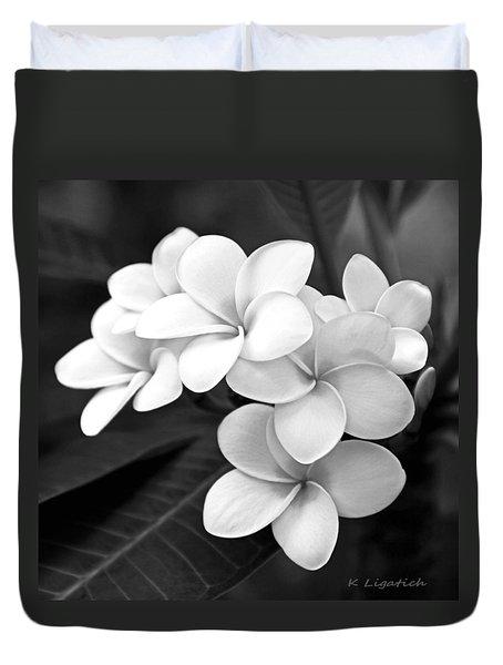 Plumeria - Black And White Duvet Cover