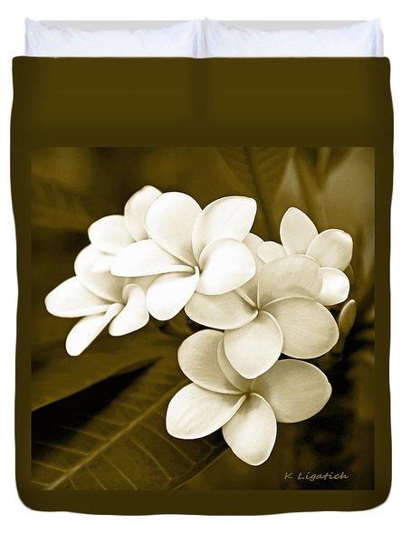 Plumeria - Brown Tones Duvet Cover