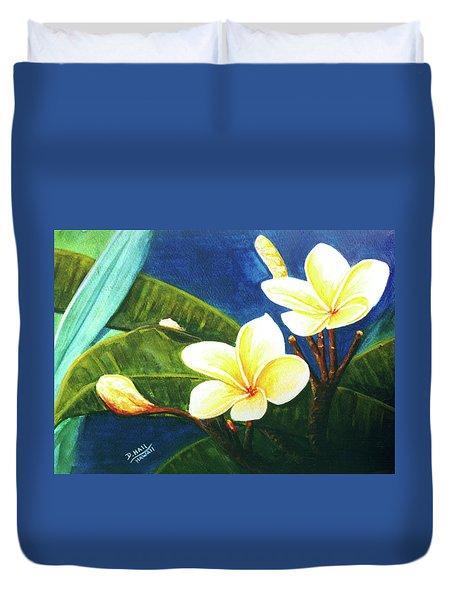 Plumeria Flower # 140 Duvet Cover by Donald k Hall