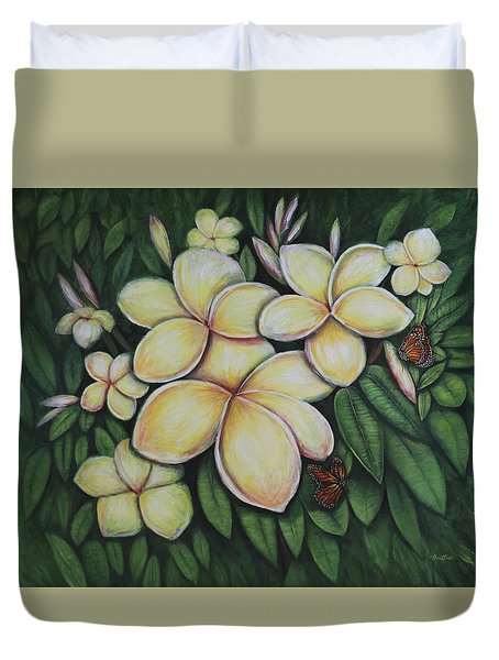Duvet Cover featuring the painting Plumeria by Lynn Buettner