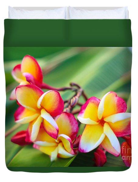 Plumeria Rainbow Duvet Cover