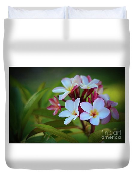 Duvet Cover featuring the photograph Plumeria Sunset by Kelly Wade