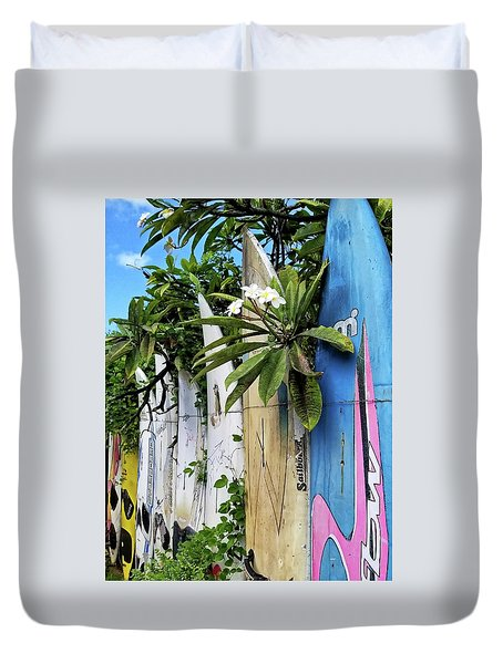 Plumeria Surf Boards Duvet Cover