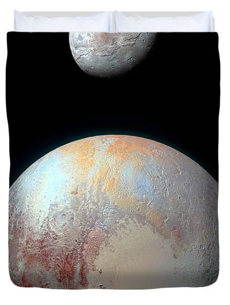 Pluto And Charon Duvet Cover by Nicholas Burningham