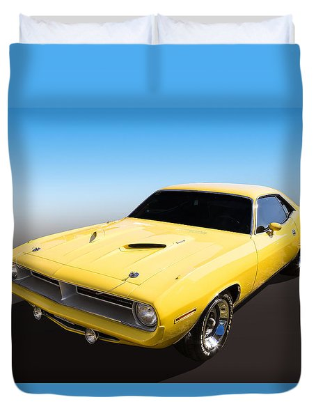 Duvet Cover featuring the photograph Plymouth Muscle by Keith Hawley