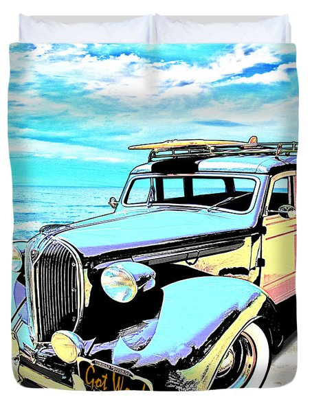 Plymouth Woody Early In The Morning By The Sea Duvet Cover