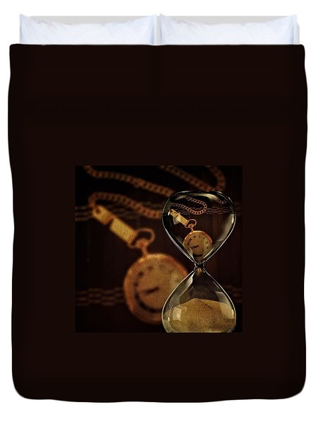 Pocket Watch And Sandglass Duvet Cover