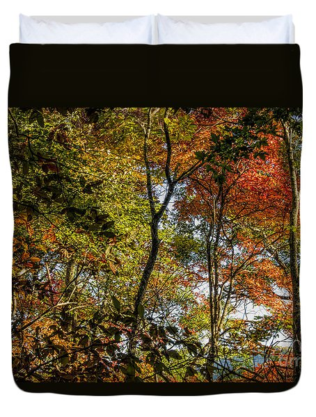 Duvet Cover featuring the photograph Pockets Of Color Emerging by Barbara Bowen