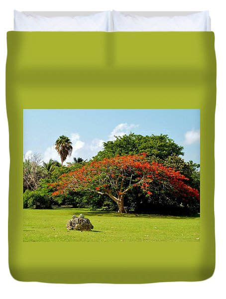 Poinciana Duvet Cover by Amar Sheow