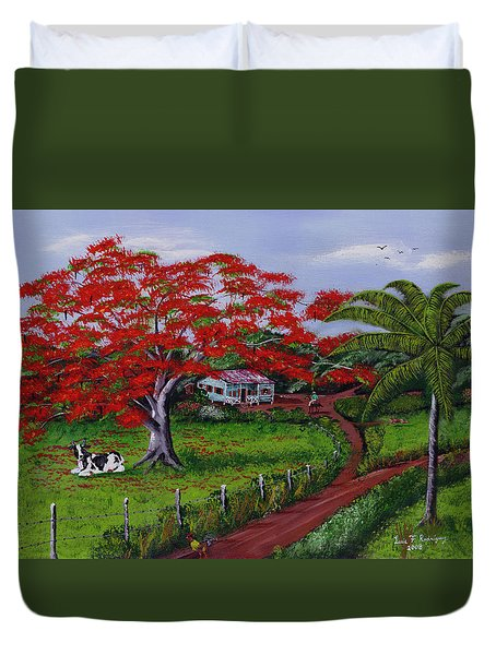Poinciana Blvd Duvet Cover by Luis F Rodriguez