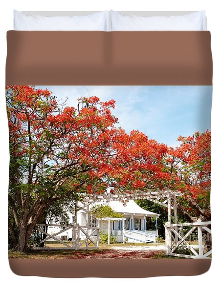 Poinciana Cottage Duvet Cover by Amar Sheow