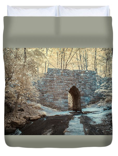 Duvet Cover featuring the photograph Poinsett Bridge-ir-10 by Joye Ardyn Durham