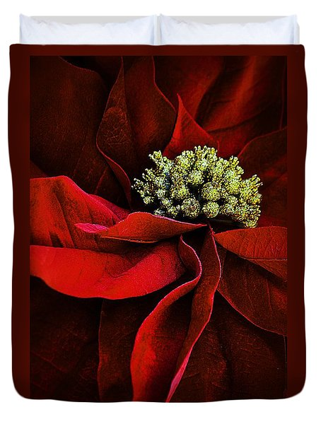 Duvet Cover featuring the photograph Poinsettia Gold by Nadalyn Larsen