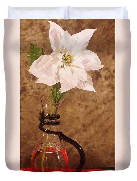 Poinsettia In Pitcher  Duvet Cover
