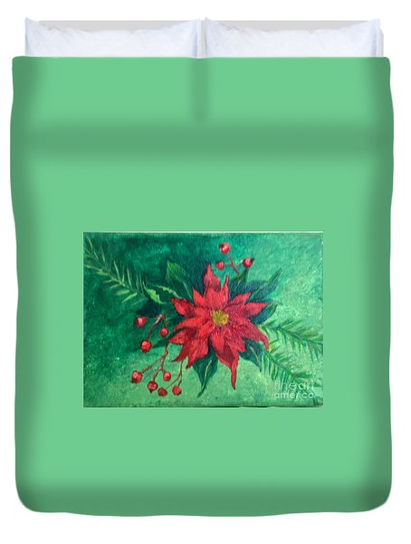 Duvet Cover featuring the painting Poinsettia by Lucia Grilletto