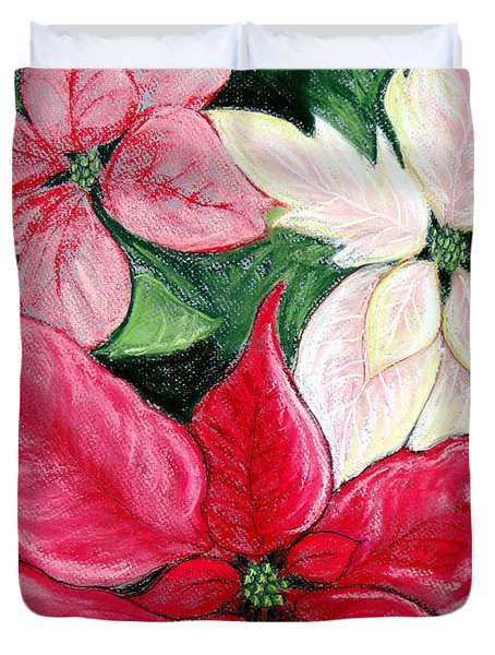 Poinsettia Pastel Duvet Cover by Nancy Mueller