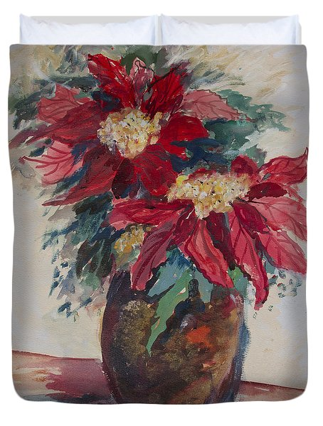 Duvet Cover featuring the painting Poinsettias In A Brown Vase by Avonelle Kelsey