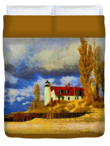 Duvet Cover featuring the painting Point Betsie Lighthouse by Kai Saarto