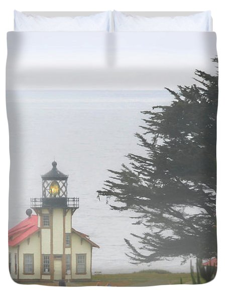 Point Cabrillo Light Station Ca - Lighthouse In Damp Costal Fog Duvet Cover by Christine Till